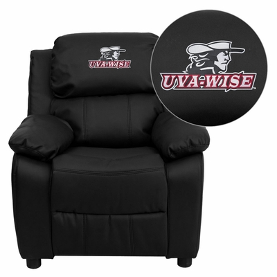 Virginia College at Wise Highland Cavaliers Leather Kids Recliner - BT-7985-KID-BK-LEA-41095-EMB-GG