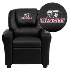 Virginia College at Wise Highland Cavaliers Vinyl Kids Recliner - DG-ULT-KID-BK-41095-EMB-GG