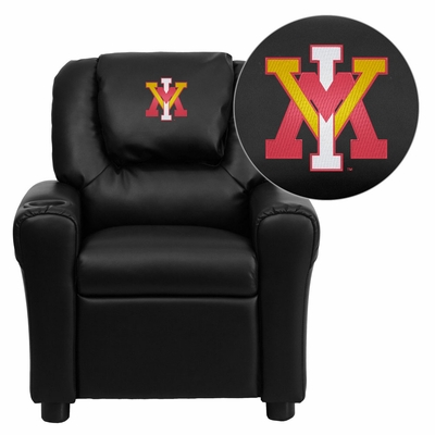 Virginia Military Institute Keydets Black Vinyl Kids Recliner - DG-ULT-KID-BK-45028-EMB-GG