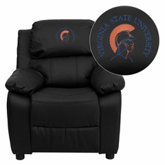 Virginia State University Trojans Black Leather Kids Recliner - BT-7985-KID-BK-LEA-41109-EMB-GG