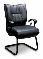 Visitor Chair in Black Leather - Coaster