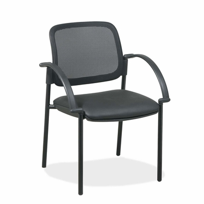 Visitor Chairs - Black Faux Leather Seat - LLR60462