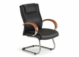 Visitors Chair - Executive Leather Guest Chair with Wood Accents - OFM - 565-L