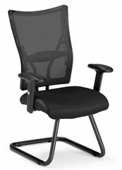 Visitors Chair - Ultimate Leather Guest Mesh Chair - OFM - 595-L