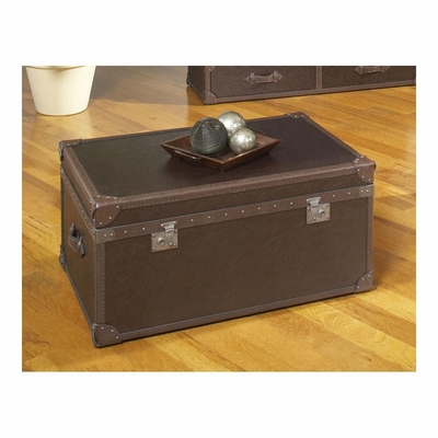 Voyage Rectangular Cocktail Trunk Brown Leather - Largo - LARGO-ST-T949-111