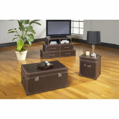 Voyage Rectangular Cocktail Trunk, End Trunk and HD Console Base - Largo - LARGO-WG-T949-SET