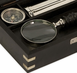 Voyager Magnifying Set In Wood Box - IMAX - 60066