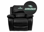 Wagner College Seahawks Embroidered Black Leather Rocker Recliner  - MEN-DA3439-91-BK-41110-EMB-GG