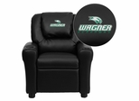 Wagner College Seahawks Embroidered Black Vinyl Kids Recliner - DG-ULT-KID-BK-41110-EMB-GG