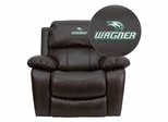 Wagner College Seahawks Embroidered Brown Leather Rocker Recliner  - MEN-DA3439-91-BRN-41110-EMB-GG