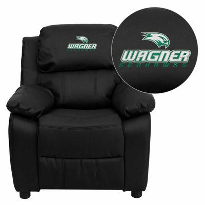 Wagner College Seahawks Leather Kids Recliner - BT-7985-KID-BK-LEA-41110-EMB-GG