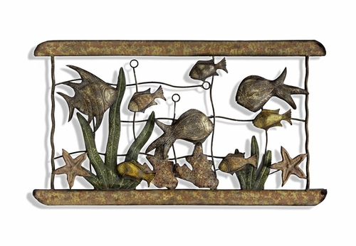 Wall Art - Metal Fish Aquarium Wall Art - Style Craft - CJP179-DS