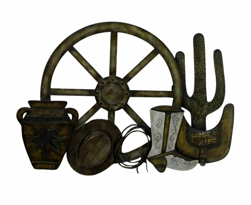 Wall Art - Western Theme Metal Wall Plaque - Style Craft - WI4-1010-DS
