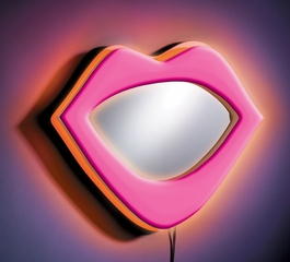 Wall Mirror - Neon Lips Wall Mirror in Pink - LumiSource - WB-NWM-LIPS-PK