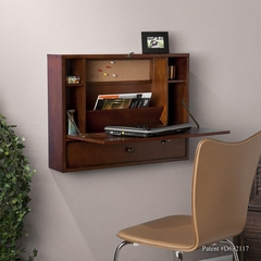 Wall-Mount Laptop Desk - Brown Mahogany - Holly and Martin