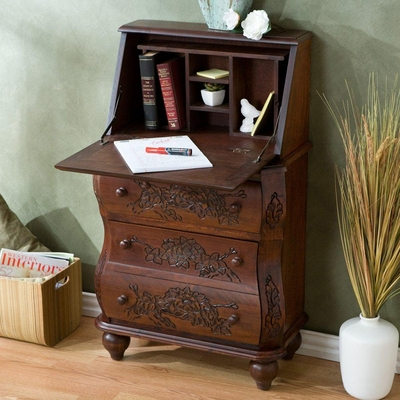 Walnut Carved Drop Front File Desk - Holly and Martin
