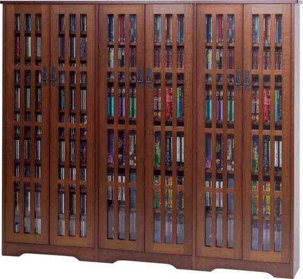 Walnut Mission Style Glass Door DVD Cabinet - Leslie Dame DVD Storage - M-1431WAL