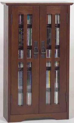 Walnut Mission Style Glass Door Wall Mounted DVD Cabinet - Leslie Dame DVD Storage - M-190W