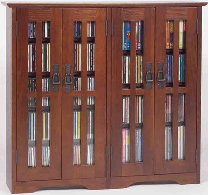 Walnut Mission Style Glass Door Wall Mounted DVD Cabinet - Leslie Dame DVD Storage - M-380W