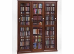 Walnut Mission Style Sliding Glass Door DVD Cabinet - Leslie Dame DVD Storage - MS-1050WAL