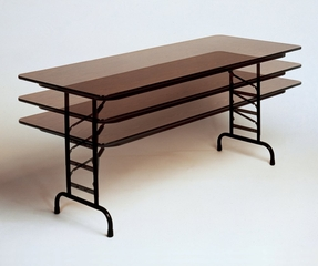 "Walnut Top High-Pressure 3/4"" Top Adjustable Folding Table 30"" x 72"" - Correll Office Furniture - CFA3072PX"