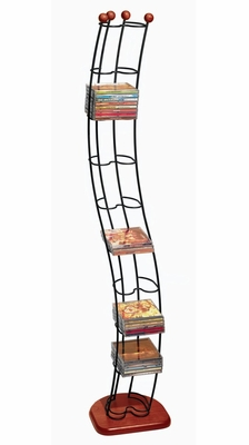 Wave 110 CD Tower Black With Cherry Wood - Atlantic - 1316