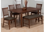 Wayland Brown Ash 6-Piece Rectangular Dining Set with Bench - 493-66