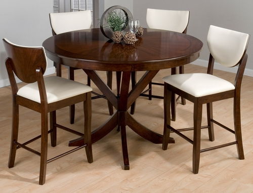 Webber Satin Walnut 5-Piece Counter Height Table & Stool Set - 433-54