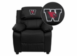Wesleyan University Cardinals Black Leather Kids Recliner - BT-7985-KID-BK-LEA-41112-EMB-GG