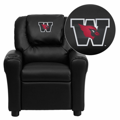 Wesleyan University Cardinals Black Vinyl Kids Recliner - DG-ULT-KID-BK-41112-EMB-GG