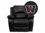 Wesleyan University Cardinals Embroidered Black Leather Rocker Recliner  - MEN-DA3439-91-BK-41112-EMB-GG