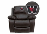 Wesleyan University Cardinals Embroidered Brown Leather Rocker Recliner  - MEN-DA3439-91-BRN-41112-EMB-GG