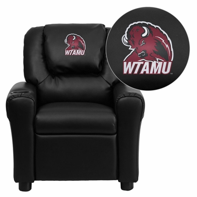 West Texas A&M University Buffaloes Black Vinyl Kids Recliner - DG-ULT-KID-BK-41113-EMB-GG