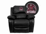 West Texas A&M University Buffaloes Embroidered Black Leather Rocker Recliner  - MEN-DA3439-91-BK-41113-EMB-GG
