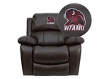 West Texas A&M University Buffaloes Embroidered Brown Leather Rocker Recliner  - MEN-DA3439-91-BRN-41113-EMB-GG
