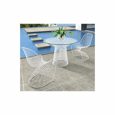 Wetherby 3pc Outdoor Dining Table Set in White - Zuo