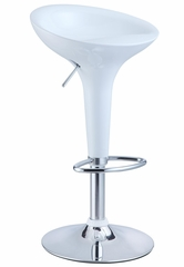White and Chrome Adjustable Height Bar Stool (Set of 2) - Powell Furniture - 211-431-SET