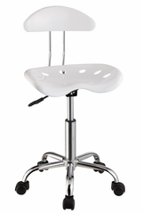 White and Chrome Adjustable Height Rolling Chair (Set of 2) - Powell Furniture - 211-257-SET