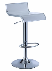 White and Chrome Thin Seat Adjustable Height Bar Stool (Set of 2) - Powell Furniture - 211-890-SET