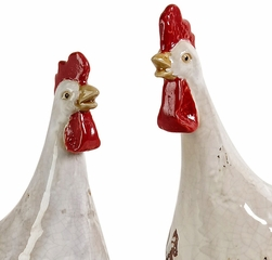 White Antiqued Chickens (Set of 3) - IMAX - 48018-3