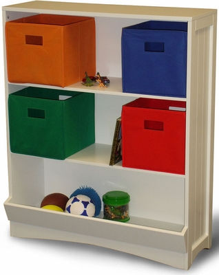 White Bookcase with Veggie Bin, 2 Shelves