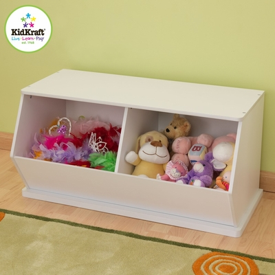 White Double Storage Unit - KidKraft Furniture - 14178