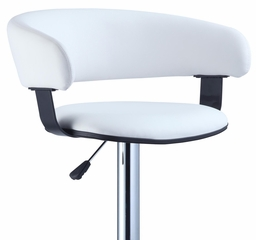 White Faux Leather Barrel and Chrome Adjustable Height Bar Stool - Powell Furniture - 211-915