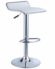 White Faux Leather / Chrome Thin Seat Adjustable Height Bar Stool (Set of 2) - Powell Furniture - 211-847-SET