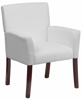 White Leather Executive Side Chair or Reception Chair - BT-353-WH-GG