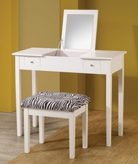 White Lift-Top Vanity with Upholstered Stool - 300285