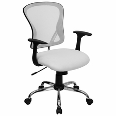 White Mesh Executive Office Chair - H-8369F-WHT-GG