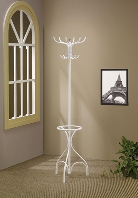 White Metal Coat Rack with Umbrella Holder - 900822