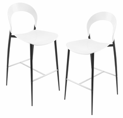 White Moonrise Barstool with Black Legs (Set of 2) - LumiSource - BS-GY-MRISE-BK2