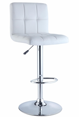 White Quilted Faux Leather and Chrome Adjustable Height Bar Stool - Powell Furniture - 211-851